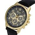 Nueva Ginebra Reloj de Los Hombres de Las Mujeres Ocasionales de Los Deportes Reloj de Pulsera Unisex de Cuero de Imitación de Cuarzo Reloj Relogio Feminino Relojes Reloj De Regalo