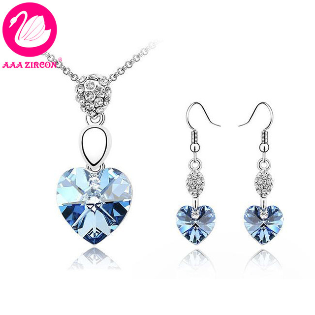 Free Shipping!!! Women s Light Blue Heart Crystal Wedding Jewelry ... af14815c41