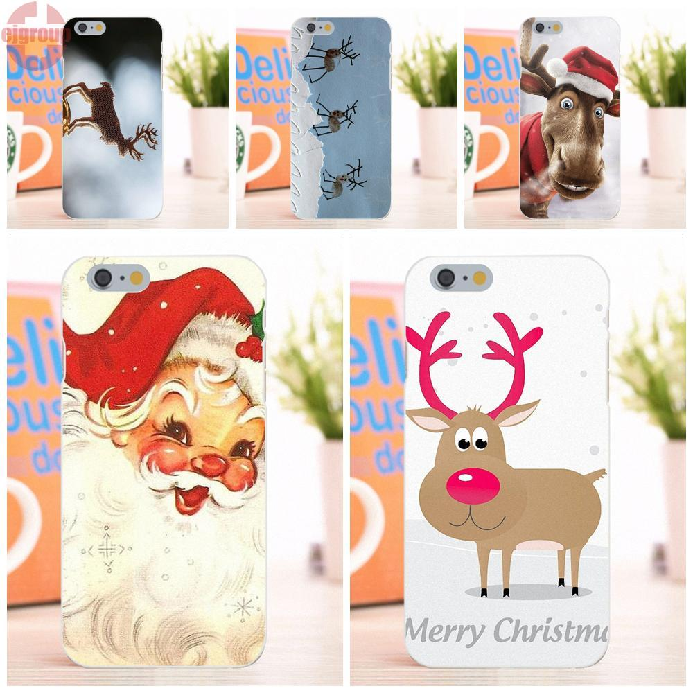 EJGROUP Soft TPU Silicon Art Online Cover Case Elenxs Christmas Elk Deer Printed For Apple iPhone 6 6S 4.7 inch