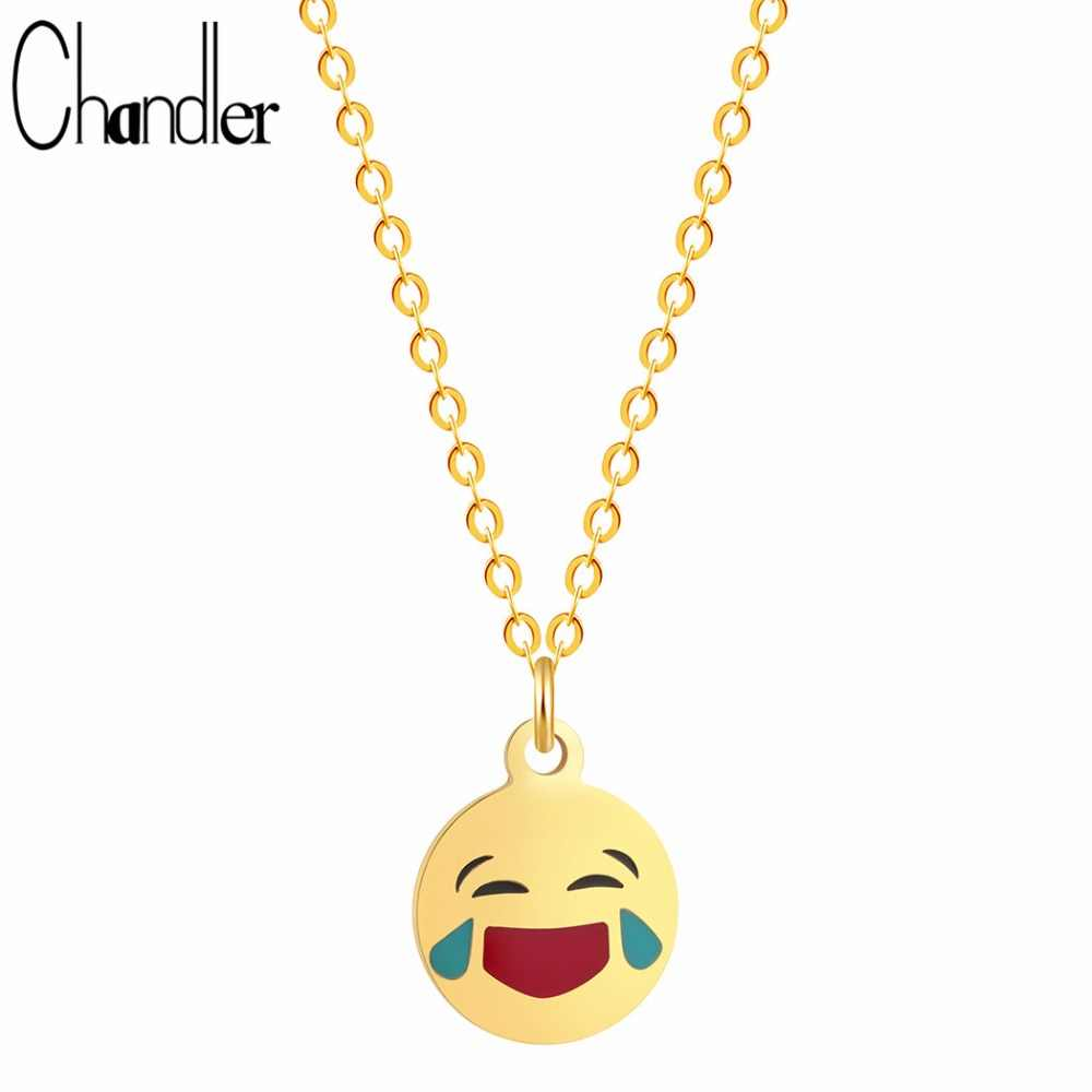 Chandler Laughing And Crying Emoji Expression Necklaces & Pendant Smiley Face Cry Steel Charm Optimistic Emoticon Party Jewelry