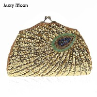 Luxy Moon Evening Bags New Arrival Peacock Sequins Women's Purse Wedding Handbag Tote Clutch Shoulder Bags with Two Chain ZD708