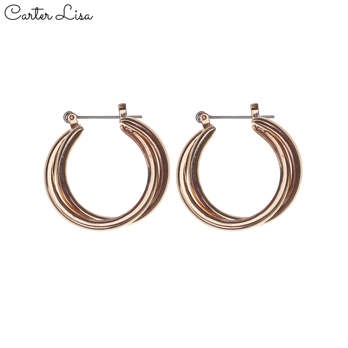 CARTER LISA 1 Pair Sexy Women Alloy Smooth Gold Color Round Hoop Earrings For Ladies Circle Ear Buckle Jewelry 1.2 Inch