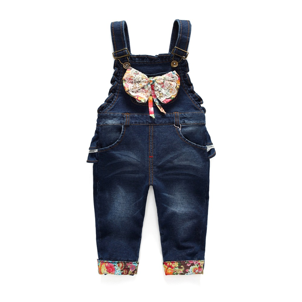 High Quality 2016 Spring baby rompers bow tie Girl's Jumpsuit roupas de bebe Denim Overalls infant costumes pants Baby Clothing newborn baby rompers baby clothing 100% cotton infant jumpsuit ropa bebe long sleeve girl boys rompers costumes baby romper