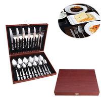 24pcs /Set Stainless Steel Kitchen Fork Spoon Knife Cutlery Set Tableware Dinnerware Utensil Set With Wooden Case Gift