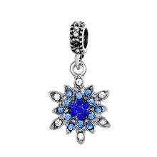 HOMOD 2019 New Fashion Snowflake Silver Charm Beads  Fits PandoraFit Original Brand Charms Bracelet