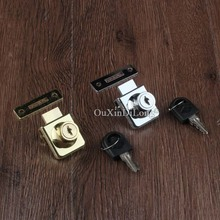 10PCS Gold/Chrome Glass door locks furniture cabinet glass square lock with keys