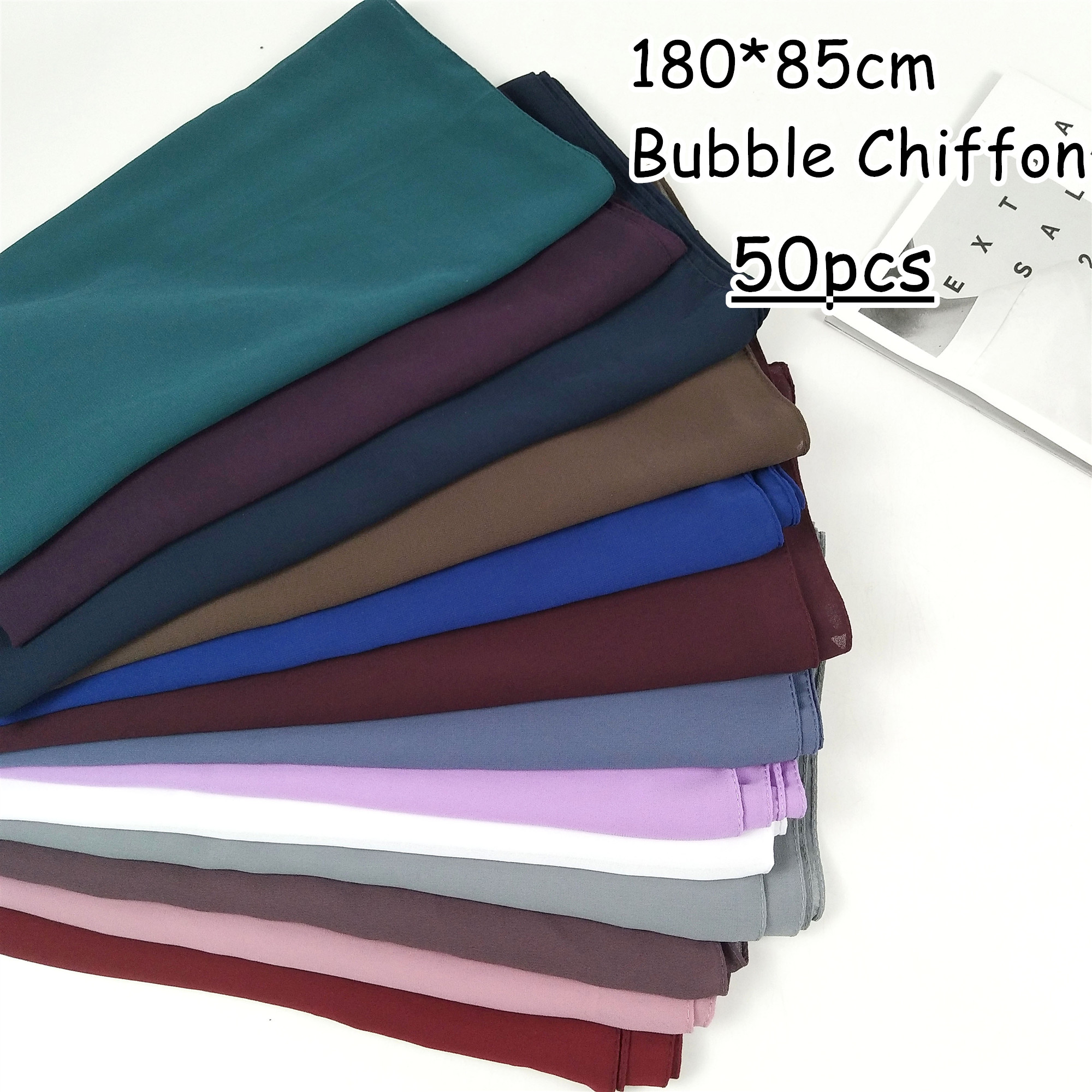 R12 50ks vysoce kvalitní 180 * 85 cm bublinový šifon hidžáb zábal šátek šátek šátky