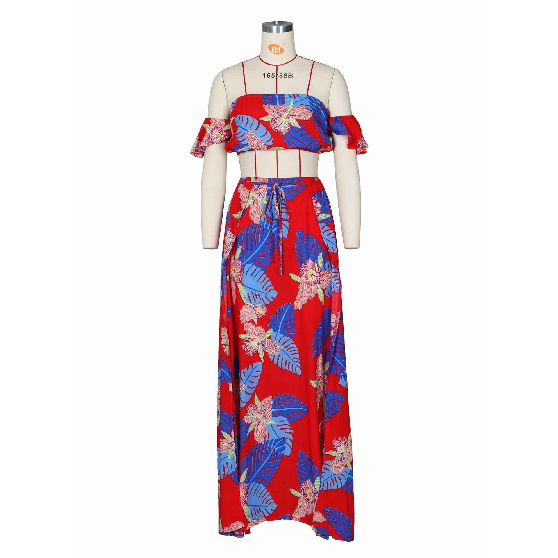 2019 yaz iki parçalı Set kadınlar seksi kapalı omuz Ruffles kırpma üst etek çiçek baskı 2 parça takım elbise çiçek baskı kadın rahat