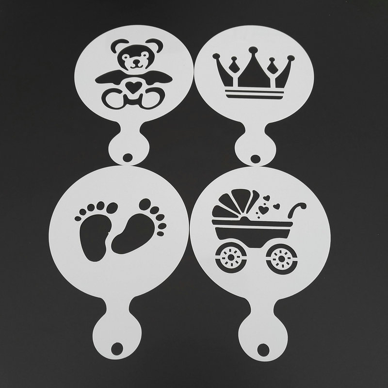 4pcs/set Baby Shower Coffee Art Stencil Cookie Cappuccino Latte Stencils Template Strew Pad Duster Spray Tools Caffe Accessories