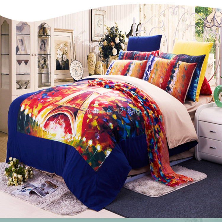 free shipping korean cotton paris eiffel tower bedding twin full queen king size duvet cover. Black Bedroom Furniture Sets. Home Design Ideas