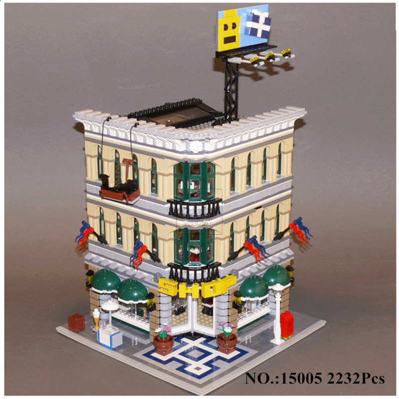 H&HXY IN STOCK 15005 2232Pcs City Grand Emporium Model Building Kits lepin Blocks Brick DIY Toys Compatible 10211 Gifts
