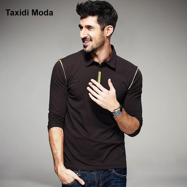 Otoño moda hombre polo camisas patchwork color marrón marca de ropa ropa de hombre de manga larga slim fit ropa tes de las tapas