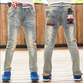 Childrens Boys Jeans For Autumn & Winter Cotton Casual Straight Elastic Waist Denim Pants Fashion Slim Male Trousers Hot Sale