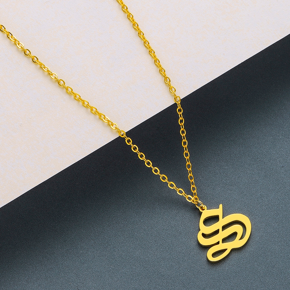 Todorova Old English Custom Capital Initial A-Z Letter Pendant Necklace Men Vintage Font Personalized Necklace Women Jewelry 56