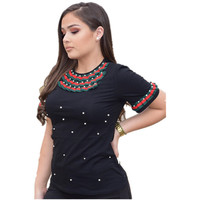 Summer Pearls Beaded T Shirt Women Cotton Loose Casual Black Tops Women Short Sleeve O Neck