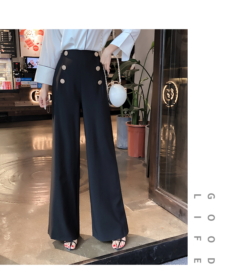 HTB1zRpGMMHqK1RjSZJnq6zNLpXaC - British OL style women's high waist wide leg pants casual loose female full length trousers with double gold buckles PA001