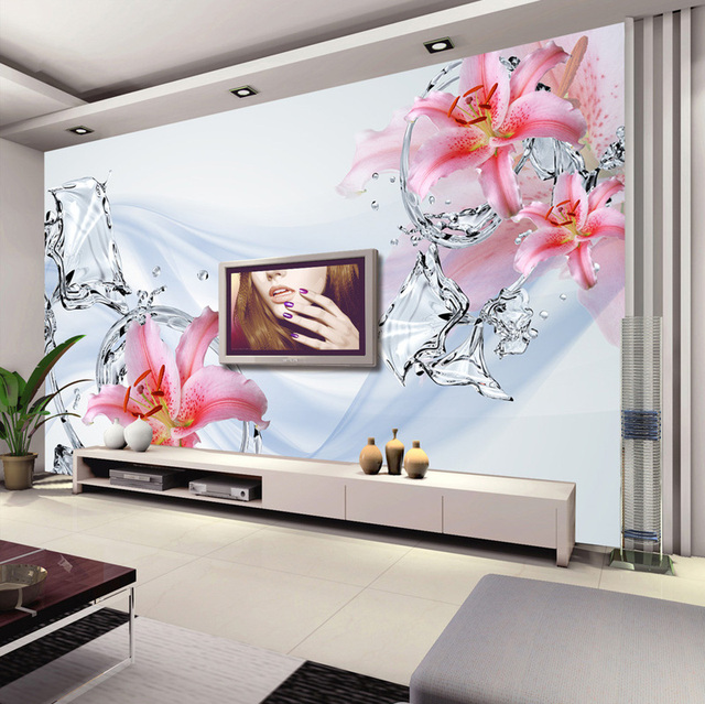 Modern minimalis wallpaper bedroom wall murals lily water for Hotel room wall decor