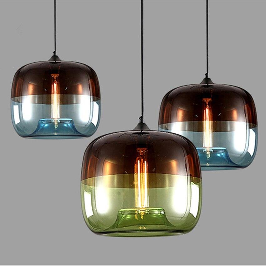 현대 유리 서스펜션 조명기구 푸른 녹색 그늘 크리 에이 티브 주방 레스토랑 바 카페 실내 조명 산업 교수형 램프