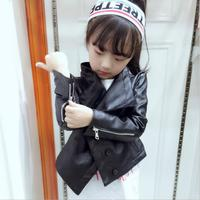 2019 Spring autumn new fashion brand Pu leather jacket coats baby girl solid outerwaer tops children Turn down Collar tops ws49
