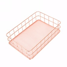 4 Sizes Rose Gold Iron Pen Pencil Storage Basket Kitchen Bathroom Cosmetic Storage Holder Mayitr Hot Selling