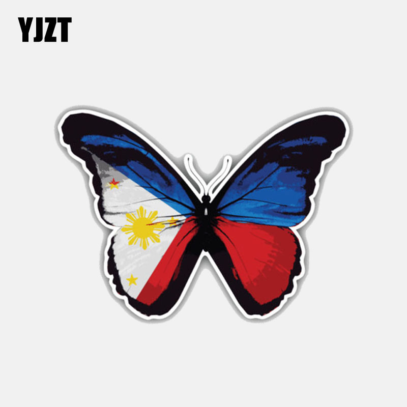 YJZT 9.8CM*7CM Funny Philippines Butterfly Flag Motorcycle Body Accessories Decal Car Sticker 6-3008