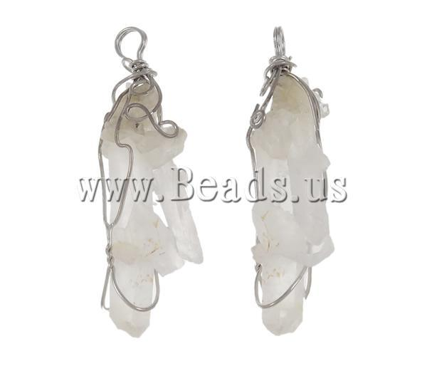 Free shipping!!!Natural Quartz Pendants,Chinese Jewelry Company, Clear Quartz, with Stainless Steel, Nuggets, natural