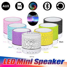 50PCS/Lot LED Mini Wireless Bluetooth Speaker TF USB FM A9 S10 Portable Music Loudspeakers Hand-free call For Phone PC with Mic