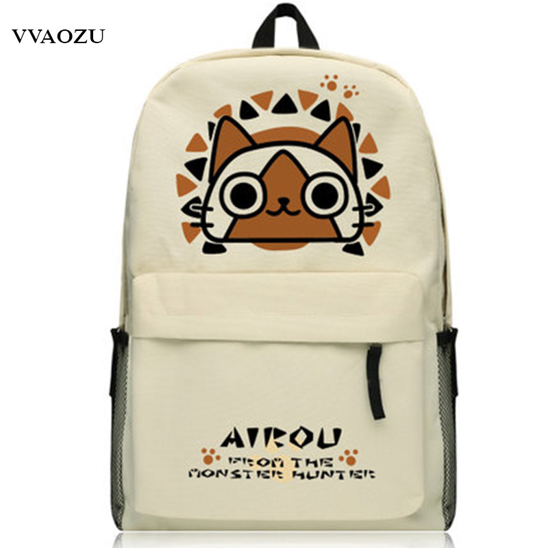 Anime Monster Hunter Schoolbag Oxford Backpack Zinogre Printing Students Laptop Book Bag Shoulder Bags Mochila for Boys Girls lowepro protactic 450 aw backpack rain professional slr for two cameras bag shoulder camera bag dslr 15 inch laptop