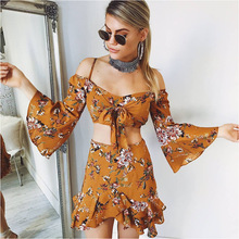 Boho Ruched Off shoulder Ruffle Print Two-piece Dress Suit Sexy Crop Top Split mini Two piece Outfits Summer Beach Matching Sets