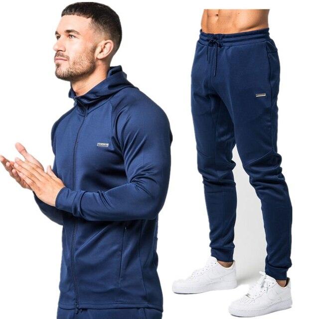 b2a63f2f1 الرياضة تناسب الرجال مجموعة تشغيل ملابس رياضية رياضية لياقة الجسم بناء  رجّالي هوديس + السراويل الرياضة