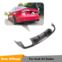 For Audi A3 Standard Sedan 2017 2018 2019 Rear Bumper Lip Diffuser Spoiler Apron Four Outlet Carbon Fiber Rear Diffuser