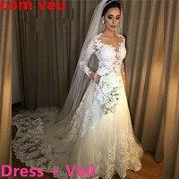 Vestidos de Noiva A Line Lace Wedding Dress 2018 See Through Back Sexy Long Sleeves Wedding Dresses Robe De Mariage Bridal Gowns
