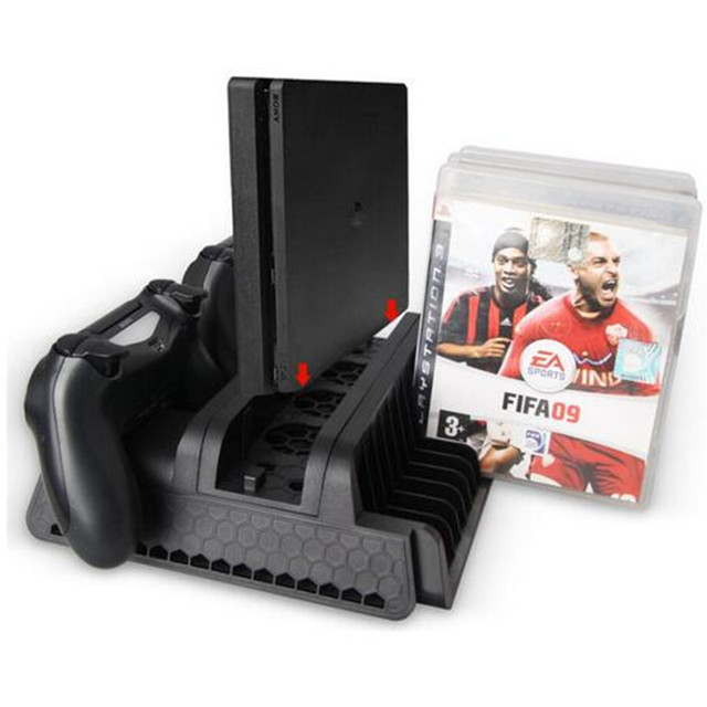 3 in 1 Vertical Stand Bracket + Cooling Fan + Disk Storage Tower+Dual Controller Charger Stand Holder For PS4 PS4 Slim PS4 Pro