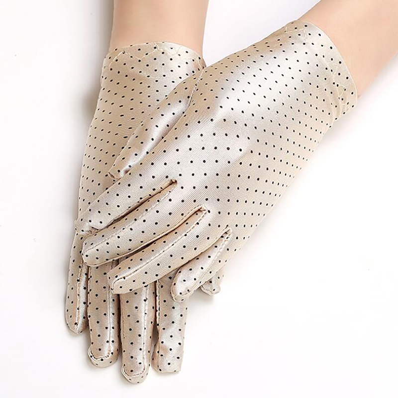 Polka Dots Women Gloves Summer Spring Spandex Gloves Sunscreen Etiquette Fashion Short Glove High Elastic Thin Gloves