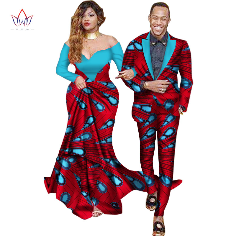 African Mermaid Bazin Riche Dresses for Couples Dashiki African