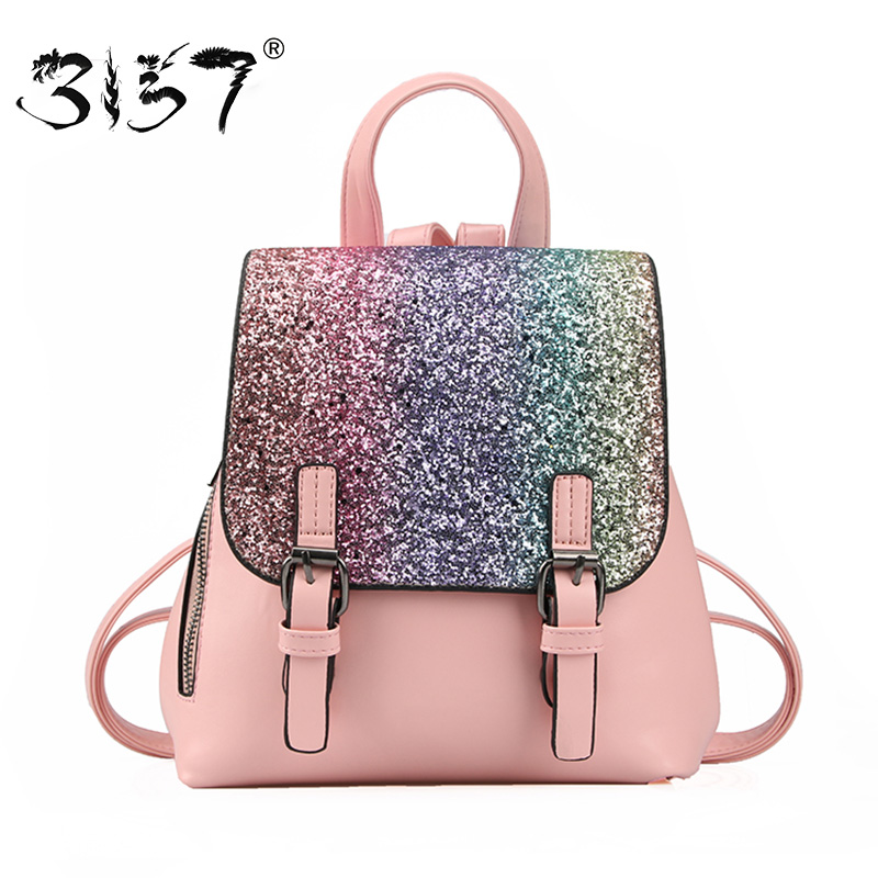 3157 Fashion Women Bőr hátizsák Colorful Sequins Kis iskolai táskák ... 4cca6257b3