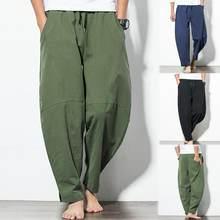 Pantalones largos holgados de lino y algodón para hombre, pantalón informal, cómodo, con bolsillos y pierna ancha