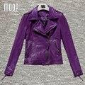 Фиолетовый красный серый натуральная кожа куртки женщин 100% Овчины мотоциклетная куртка весте ан cuir femme croped jaqueta де couro LT334