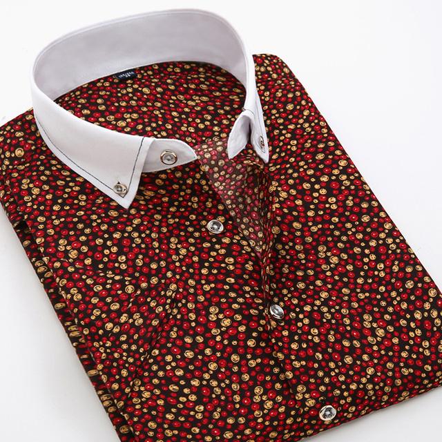 Moda verão Mens Camisas de Impressão de Manga Curta Casuais Slim Fit Floral Camisa Gola Virada Para Baixo Padrão de Xadrez Camisas Moda Masculina