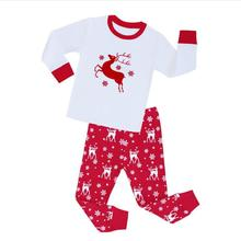 2019Autumn and Winter Girls Clothing Deer Printed T-shirts + Long Pants 2pcs Christmas Outfits Kids Clothes suit For Style