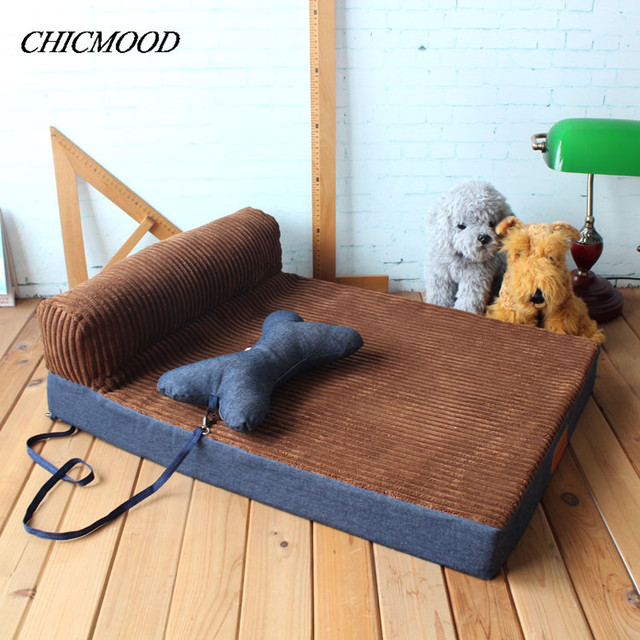 sofa gray color vintage wicker table new dog bed pet soft cushion kennel big puppy collapsible