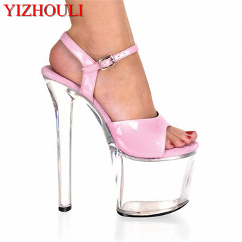 20cm high-heeled shoes transparent crystal sandals 8 inch wedding dress shoes back strap party Exotic Dancer performance shoes