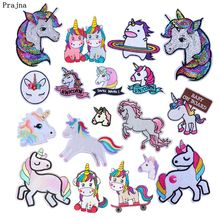 Prajna Unicorn Iron On Patches Cartoon Rainbow Applique Embroidered For Clothing Jeans Coats Bags Dress Man