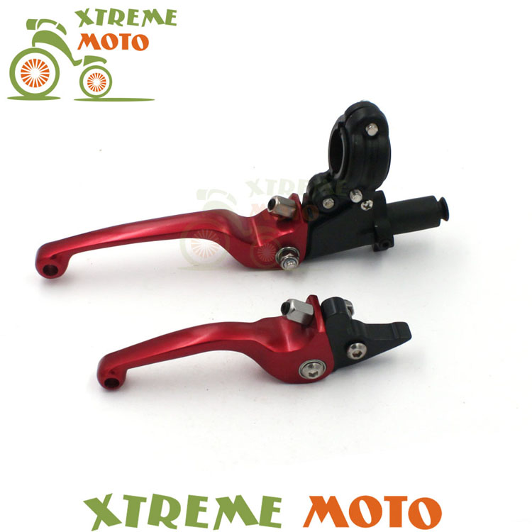 Red CNC Aluminum ASV F3 Series 2ND Clutch & Brake Folding Lever For Honda CR CRF 70 KLX YZF RMZ Motocross Motorcycle Dirt Bike