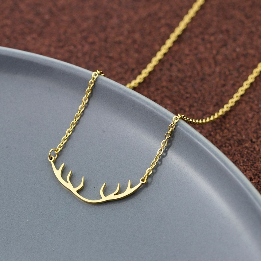 V Attract Minimalist Deer Horn Pendant Necklace Women Elegant Accessories Stainless Steel Link Chain Jewellery image