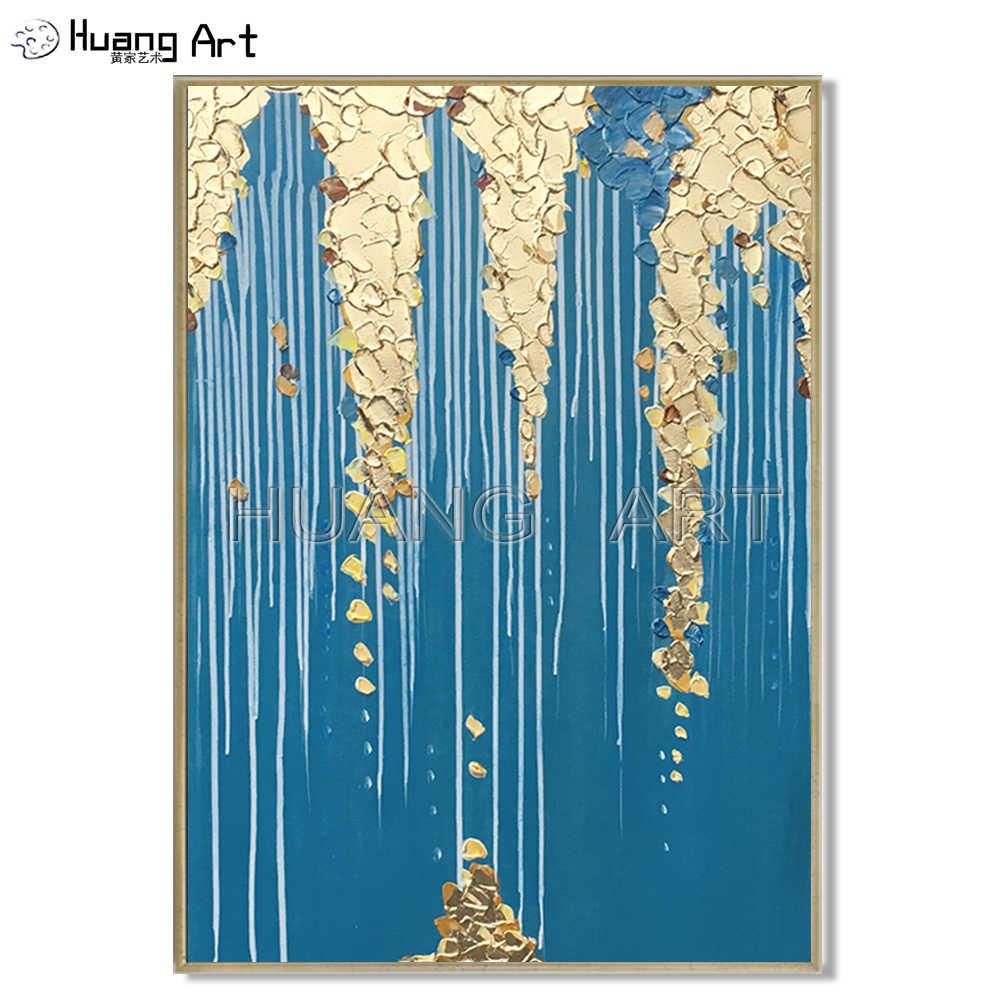 ファッションウォールアート手描きゴールド色抽象油絵ビッグナイフ青抽象油彩画リビングルーム
