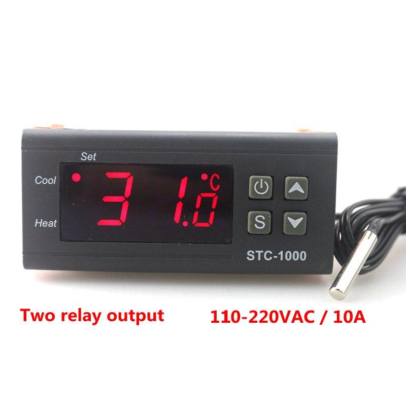 STC-1000 Numérique Température Contrôleur Deux Relais Sortie LED Thermostat Incubateur 110 v 220 v 10A avec Chauffage et Refroidisseur