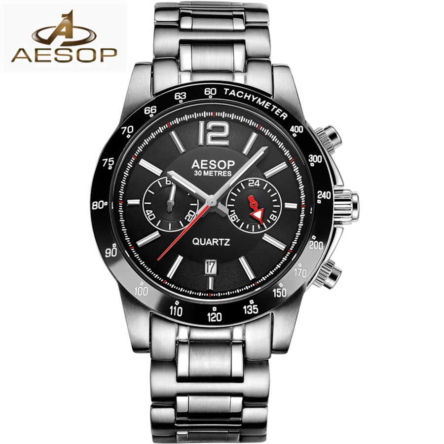 relogio masculino AESOP Mens Watches Top Brand Luxury Fashion Business Quartz Watch Men Sport Full Steel Waterproof Black Clock migeer relogio masculino luxury business wrist watches men top brand roman numerals stainless steel quartz watch mens clock zer