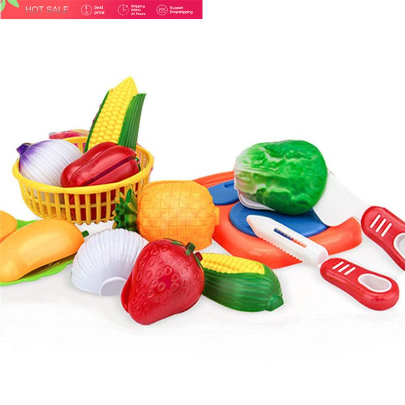 12PCs Cutting Fruit Vegetable Pretend Play Children Kid Educational Toy Pretend Play Toys for Children Playset Educational Toys 12pcs plastic kitchen pretend play toys cutting fruit vegetable food basket children role play educational kitchen toys for kids