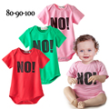 2016 clearance Baby bodysuit fashion letter printed infant boys girls NO ! newborn boy girl short sleeve cotton clothes  181F
